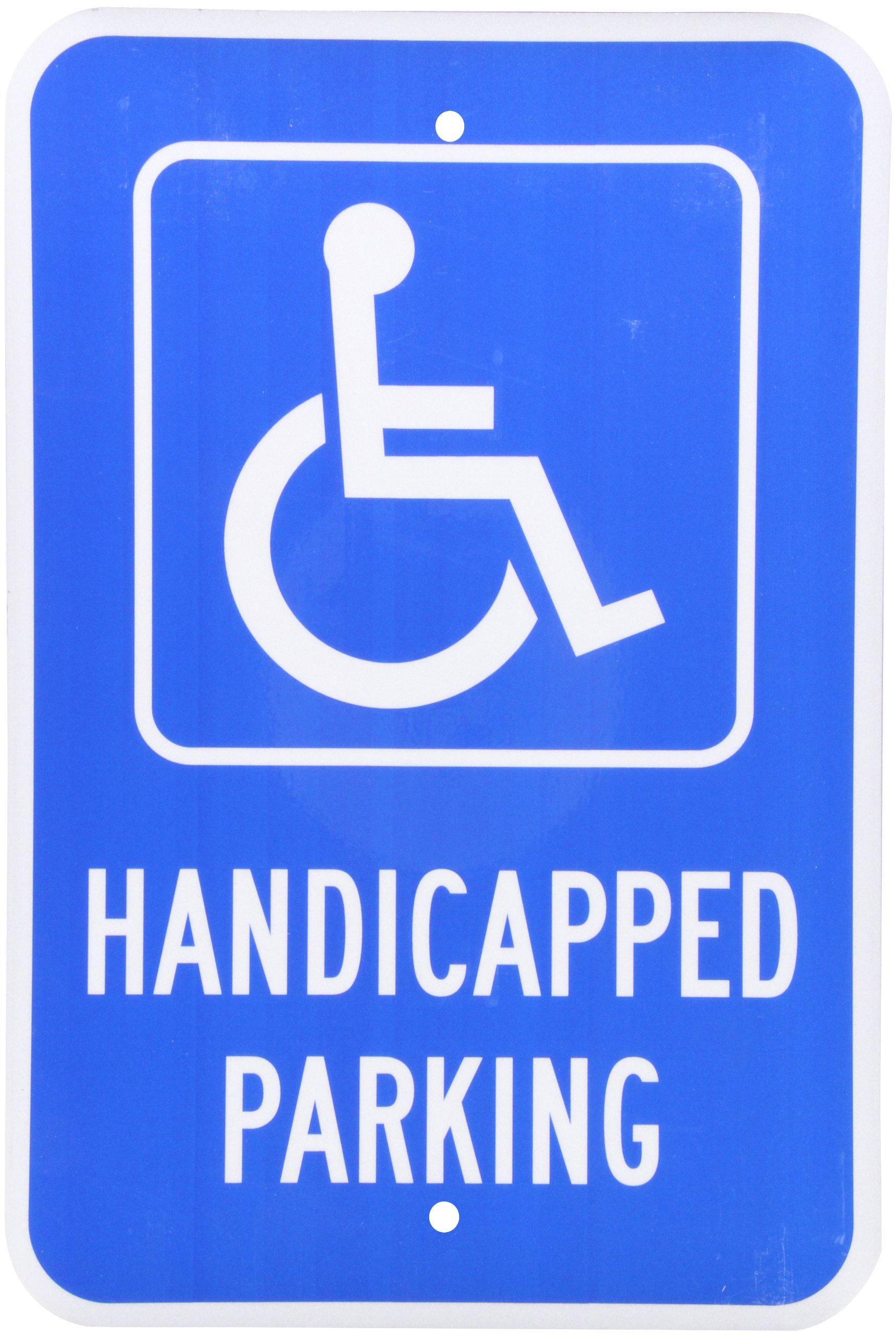 SmartSign 3M Engineer Grade Reflective Sign, Legend ''Handicapped Parking'' with Graphic, 18'' high x 12'' wide, White on Blue