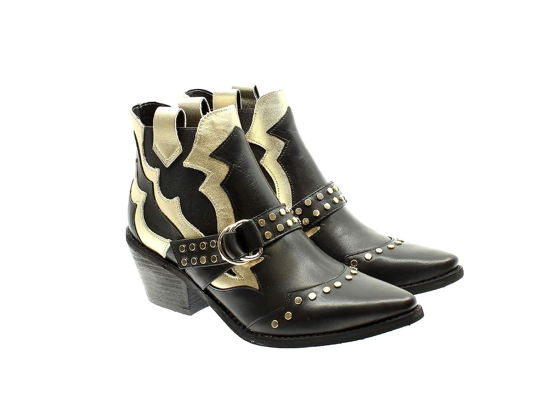 Guess Frau Schuhe FL7NARLEM10 SCHWARZGold Stiefel: Amazon