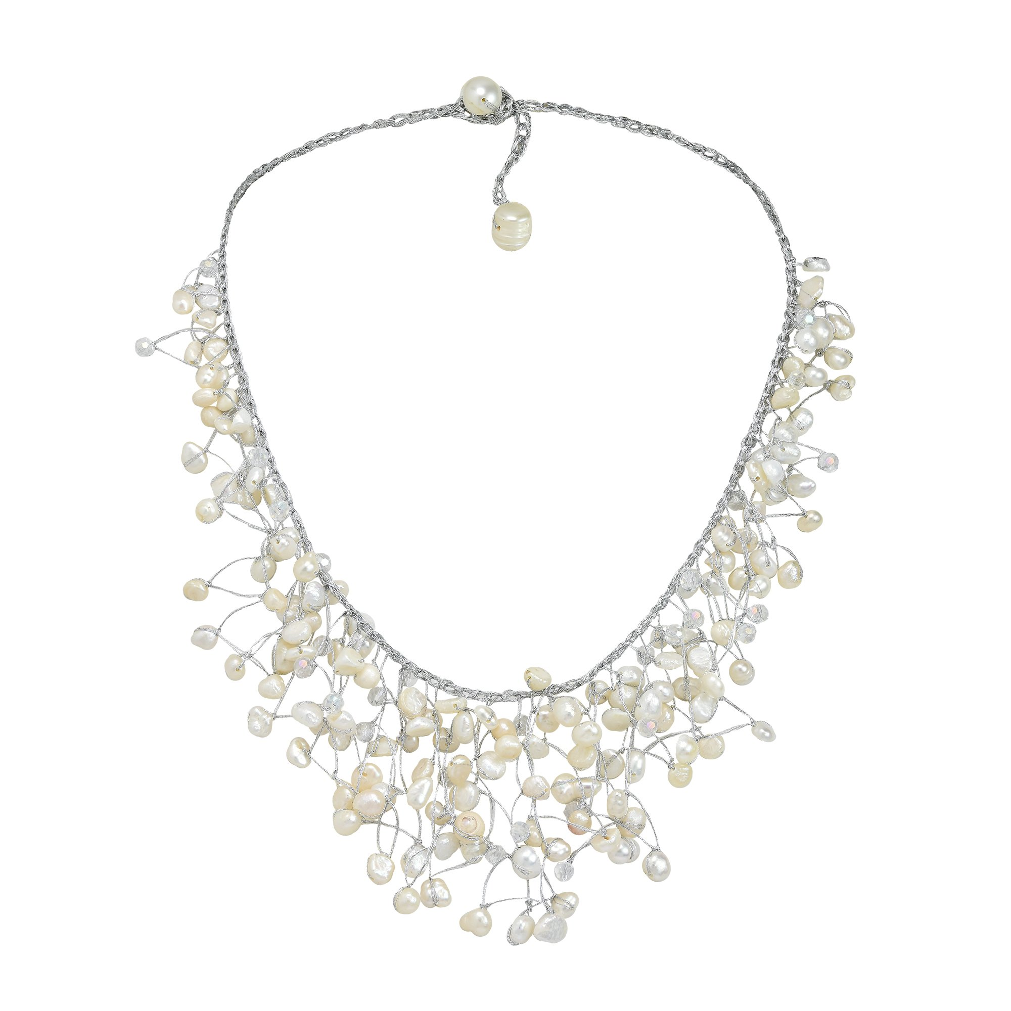 AeraVida Waterfall of Cultured Freshwater White Pearl-Fashion Crystal on Silver Silk Thread Collar Necklace