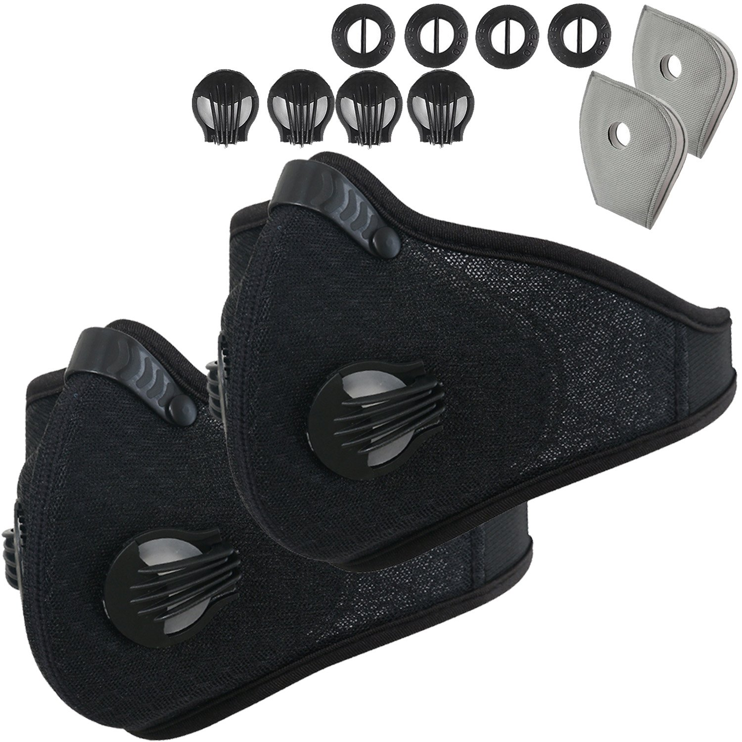 Dustproof Mask - Activated Carbon Dust Masks - with Extra Filter Cotton Sheet and Valves for Exhaust Gas, Anti Pollen Allergy, PM2.5, Running, Cycling, Outdoor Activities (2 Pack Black+Black, Type 1)