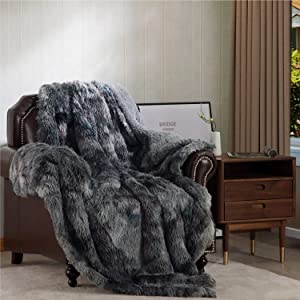 Bedsure Faux Fur Reversible Tie-dye Sherpa Queen Blanket for Sofa, Couch and Bed - Super Soft Fuzzy Fleece Blanket for Outdoor, Indoor, Camping, Gifts (90x90 inches, Grey)