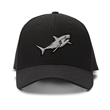 Amazon.com  Shark Style 1 Embroidered Unisex Adult Hook   Loop Acrylic  Adjustable Structured Baseball Hat Cap - Black 12bd49194a0