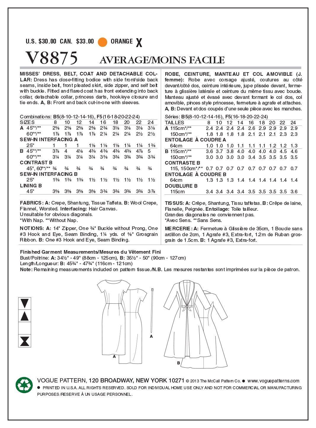Vogue Patterns V8875 - Patrones de costura para vestidos con ...