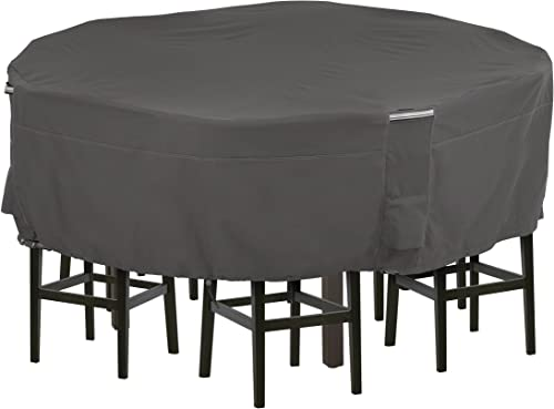 Classic Accessories Ravenna Water-Resistant 94 Inch Tall Round Patio Table Chair Set Cover