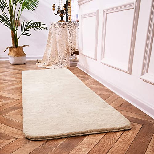Ciicool Rabbit Faux Fur Rugs Taupe Fluffy Rugs Indoor Bedside Rugs Cute Fuzzy Rugs for Bedroom Floor Sofa Living Room Runner 2 x 6 Feet