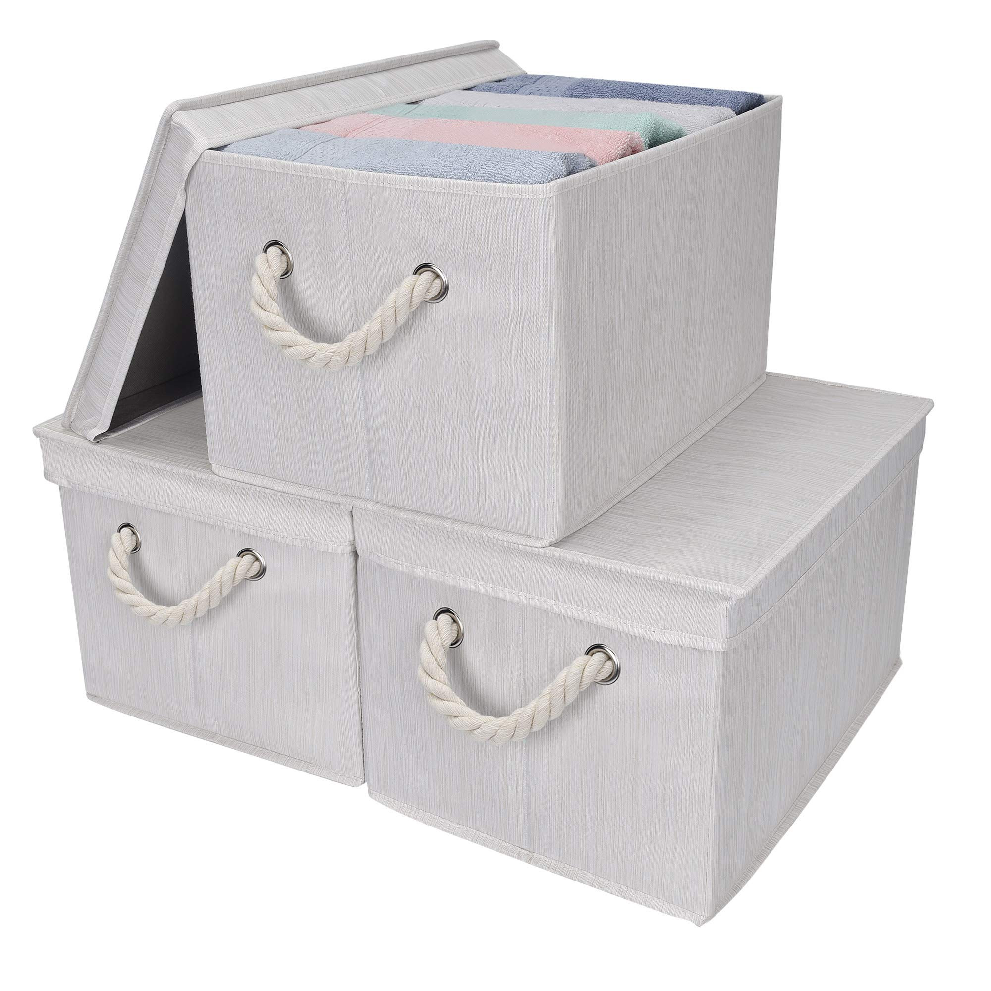 StorageWorks Storage Bins with Lids, Decorative Storage Boxes with Lids and Cotton Rope Handles, Mixing of Beige, White & Ivory, Jumbo, 3-Pack by StorageWorks