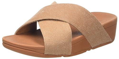 08078c5da6ac8e Fitflop Women s Lulu Cross Slide Sandals-Shimmer-Denim Open Toe Beige