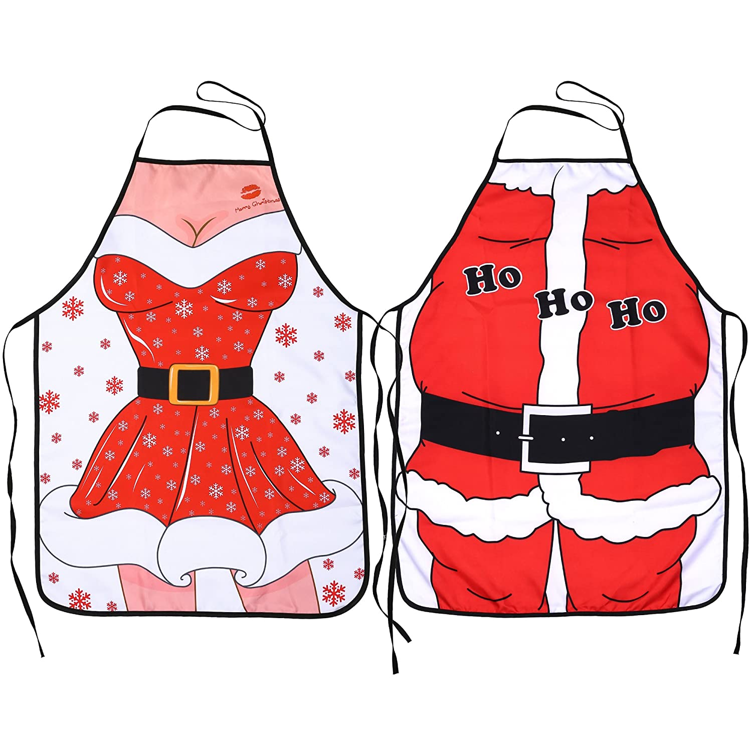 Kitchen Christmas Aprons(Pack of 2),Konsait Santa Anime Chef Aprons Wife&Husband Funny Flirty Xmas Gift Apron for Men Women Adult Children Bib BBQ Cooking Christmas Party Favor Supplies Others