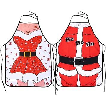 Kitchen Christmas Apronspack Of 2konsait Santa Anime Chef Aprons Wifehusband Funny