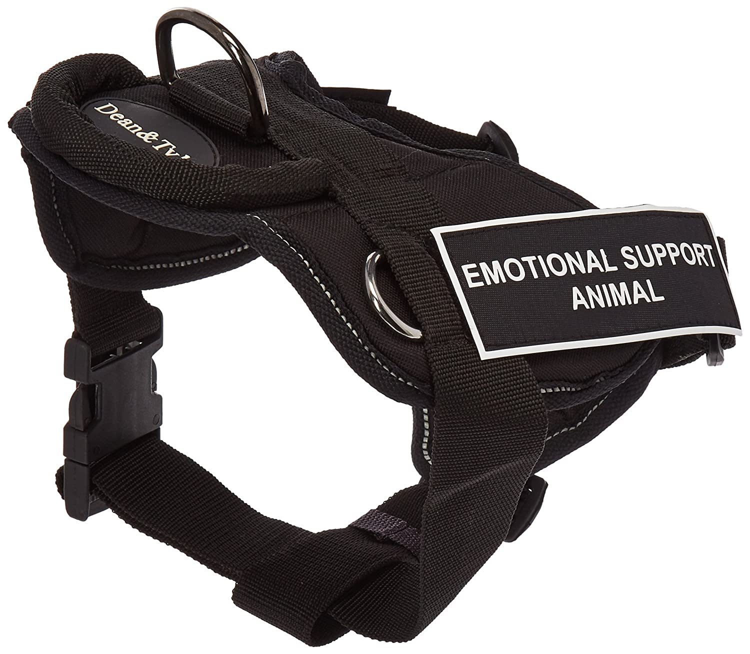 Dean & Tyler Black with Reflective Trim Fun Dog Harness with Padded Chest Piece, Emotional Support Animal, Small, Fits Girth Size 22-Inch to 27-Inch