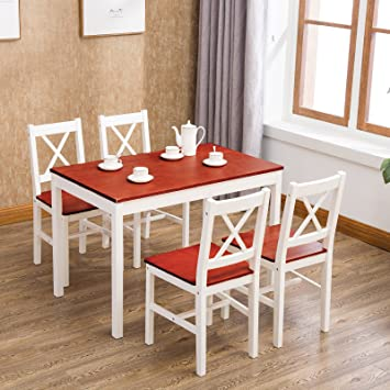Mecor UEnjoy CLASSICAL SOLID PINE DINING TABLE AND CHAIRS SET 4 WHITE/HONEY  KITCHEN DINING