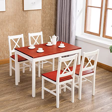 UEnjoy Solid Pine Dining Table And 4 Chairs Set, Wood, White/Honey,