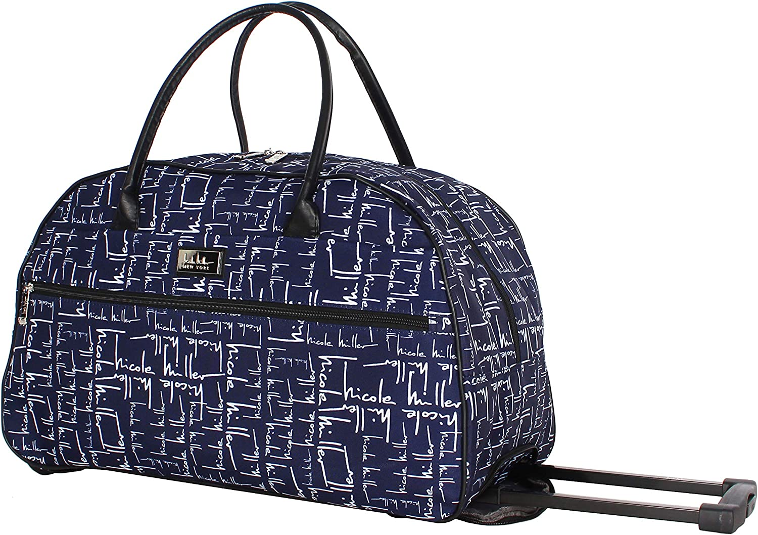 Nicole Miller Designer Carry On Luggage Collection - Lightweight Pattern 22 Inch Duffel Bag- Weekender Overnight Business Travel Suitcase with 2- Rolling Spinner Wheels (Signature Navy)