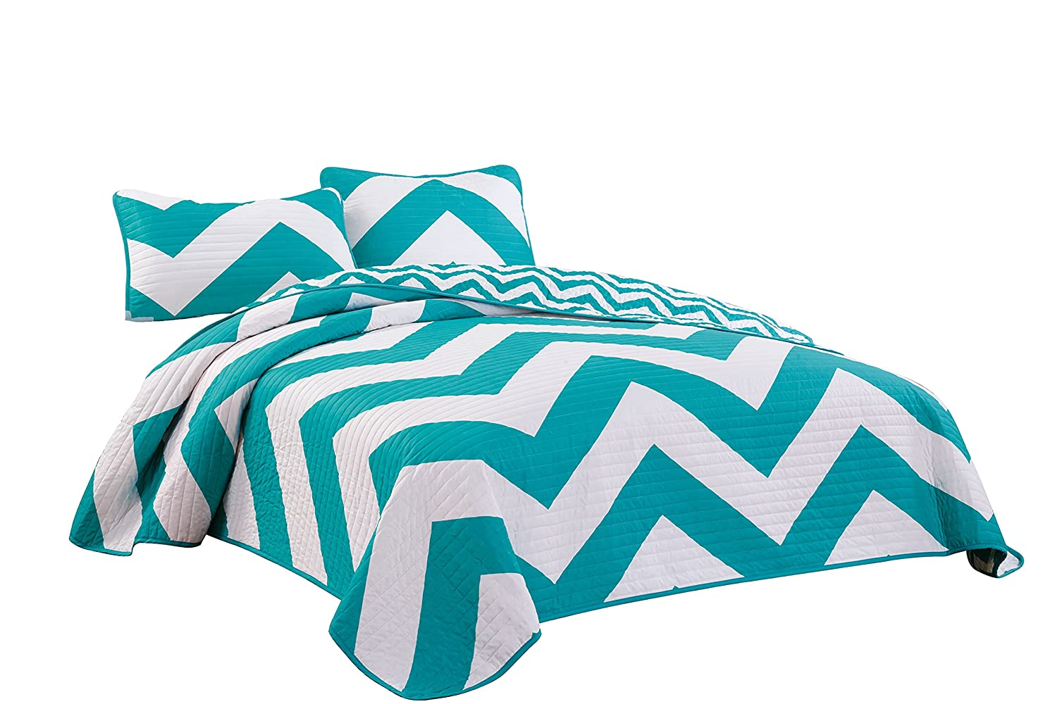Chezmoi Collection 3-Piece Chevron Zig Zag Coverlet Set (Queen, Teal)