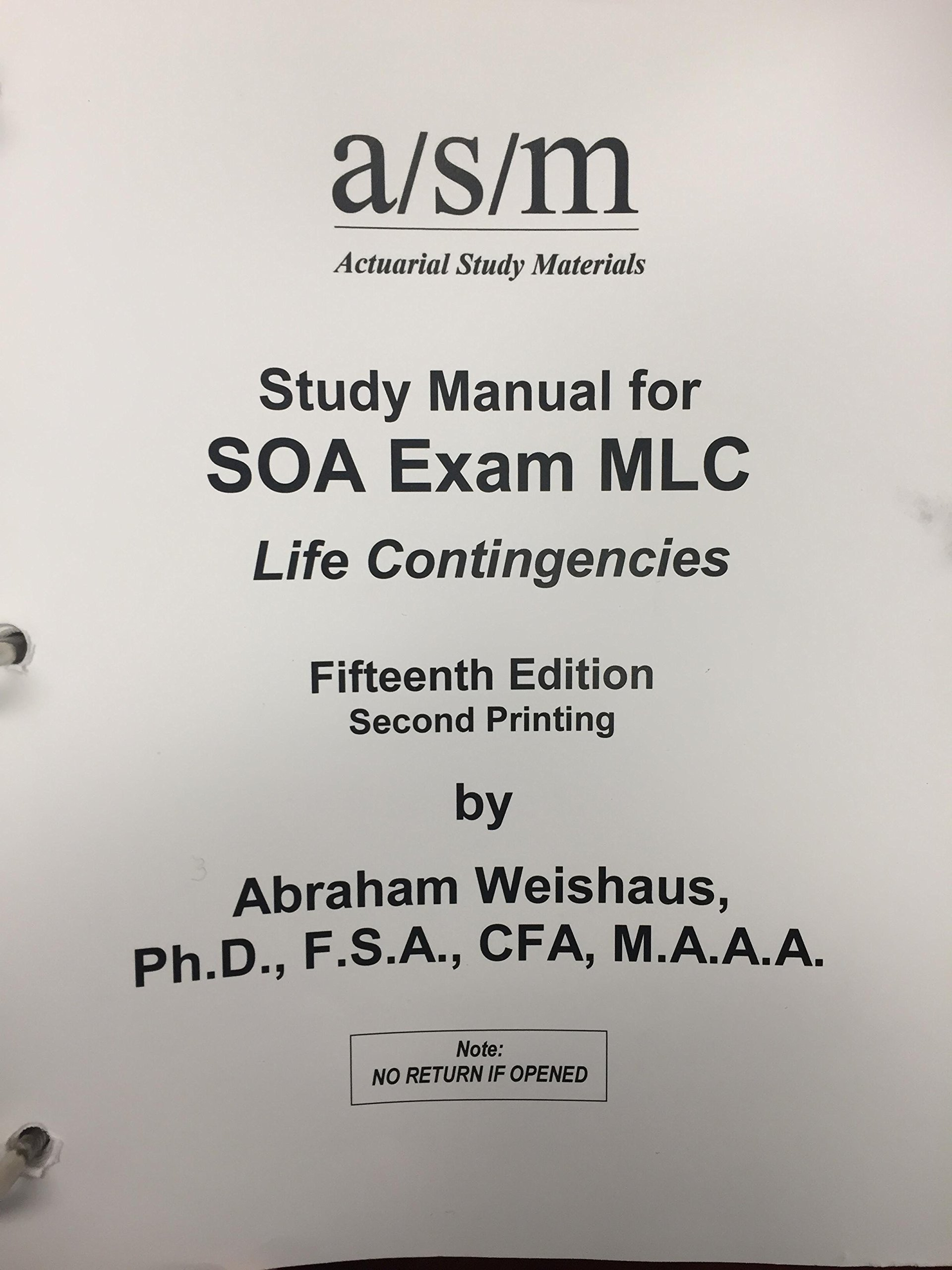 asm study manual for exam mlc abraham weishaus 9781625428721 rh amazon com Colorado CDL Study Manual asm study manual for exam mlc