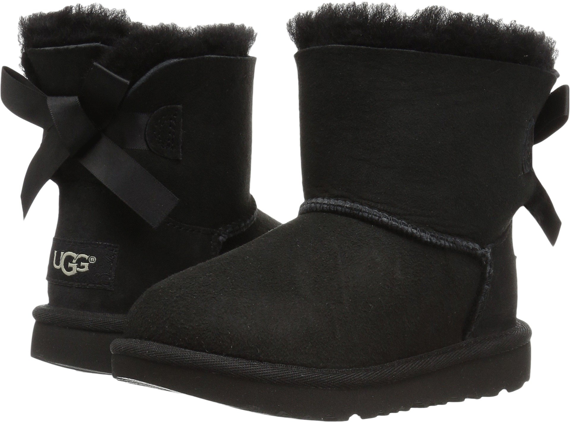 UGG Girls T Mini Bailey Bow II Pull-On Boot, Black, 7 M US Toddler