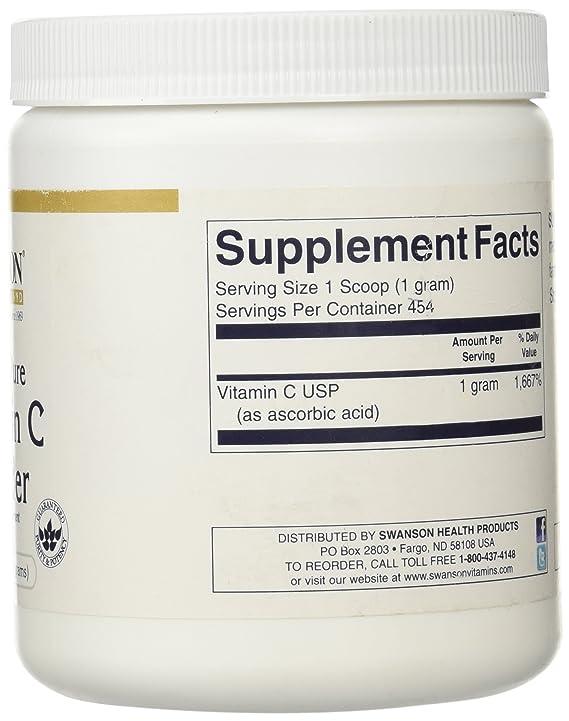 Swanson - Vitamina C Polvo (100% Puro) 454 grams - 1000mg per Cuchara (Vitamin C Powder 100% Pure): Amazon.es: Salud y cuidado personal