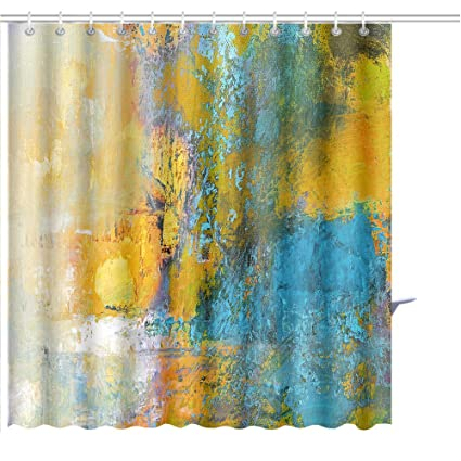 MuaToo Shower Curtain Abstract Original Painting On Canvas Sun Ball In Yellow And Turquoise Art Print