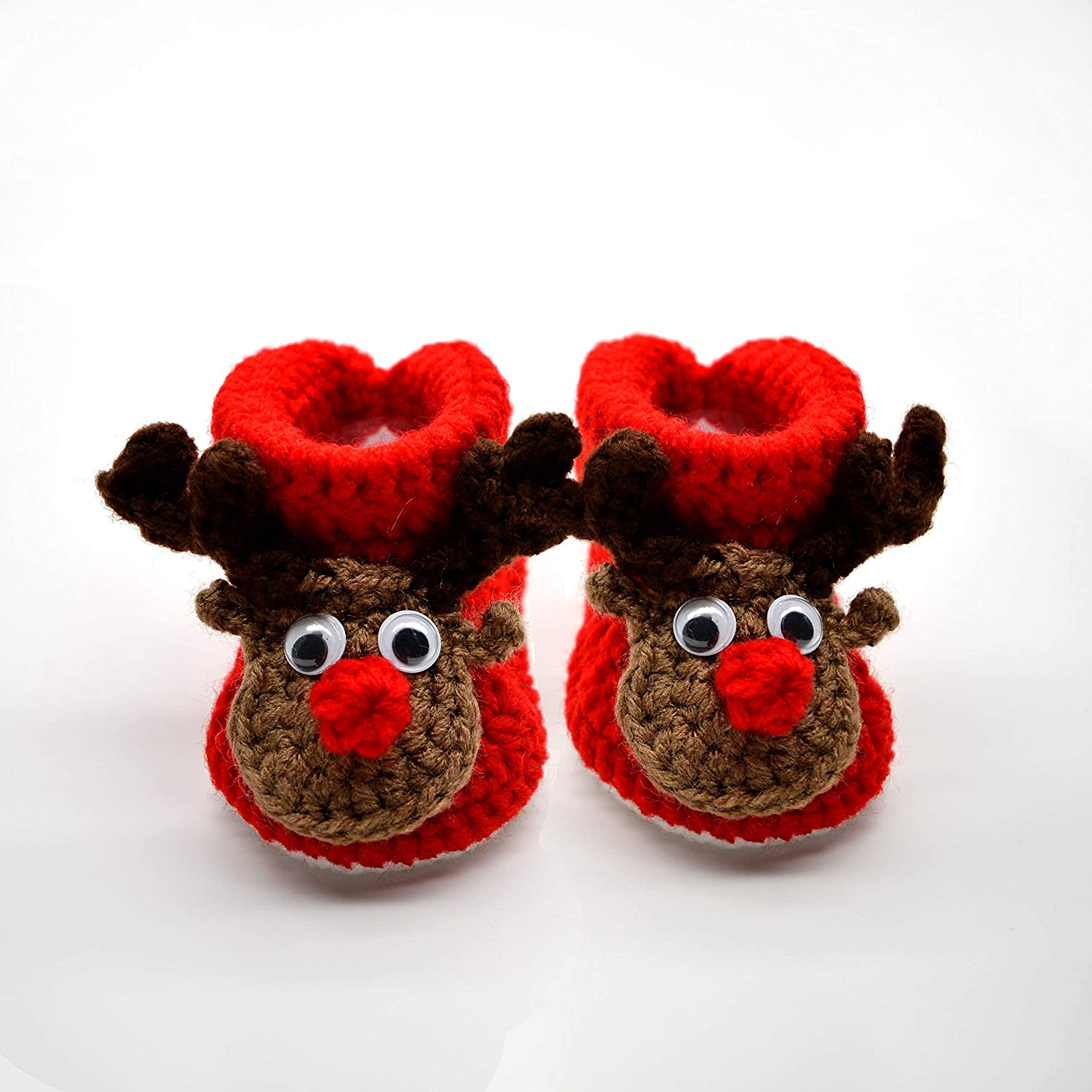 Crochet Red Booties for Infant or Newborn Baby - Reindeer, Excellent Gift for Baby First Christmas, Unisex Baby Shoes
