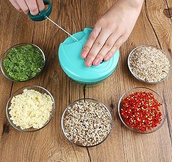 VLUNT Cortador de Verduras, Picadora de Verduras Manual, 5 Cuchillas de Acero Inoxidable Picadora
