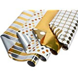 American Greetings Reversible Christmas Foil Wrapping Paper, Gold and Silver Plaid, Stripes, Polka Dots and Solid (4 Pack, 80 sq. ft.)