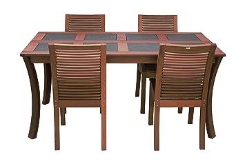 Maffei Set LUNA: table en bois LUNA avec dalles ardoise + 4 ...