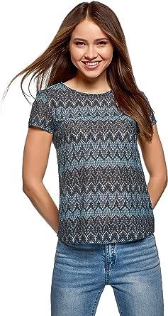 oodji Ultra Mujer Camiseta de Tejido Texturizado con Decoración ...