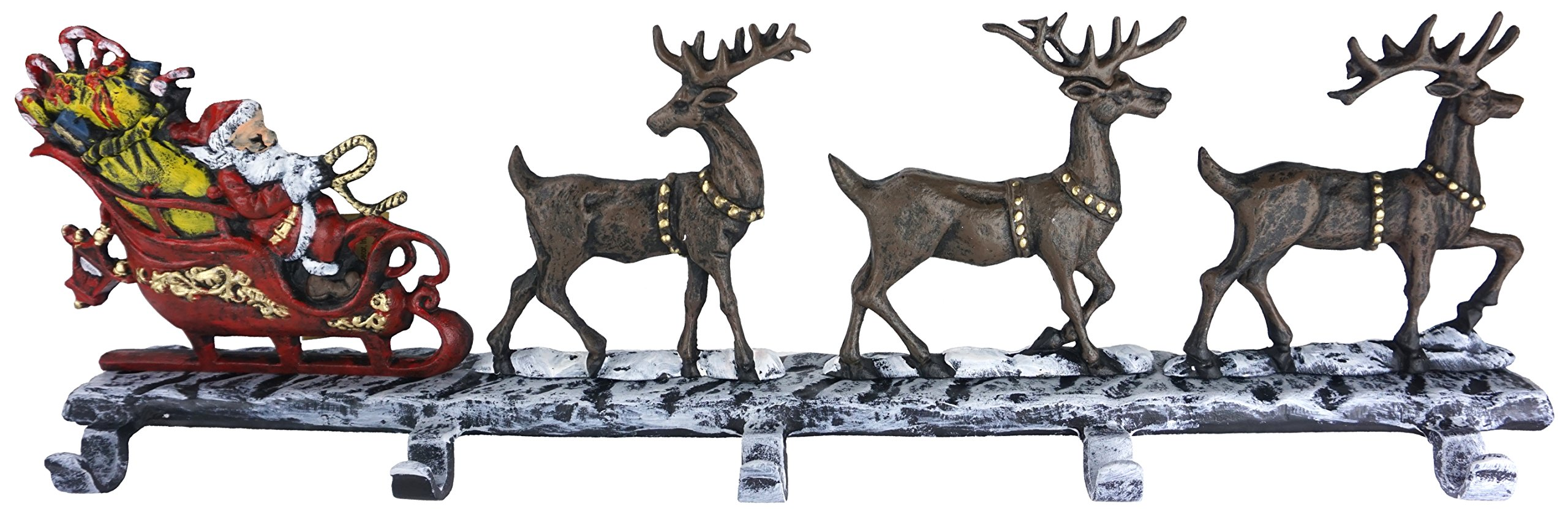Lulu Decor, Cast Iron Christmas Stocking Holder with 5 Hooks, (weight 10 lbs) Unique design of Santa on decorated sleigh with 3 Deer, 28'' long, Perfect for holiday gifts/Christmas gifts (5 Hooks) by LuLu