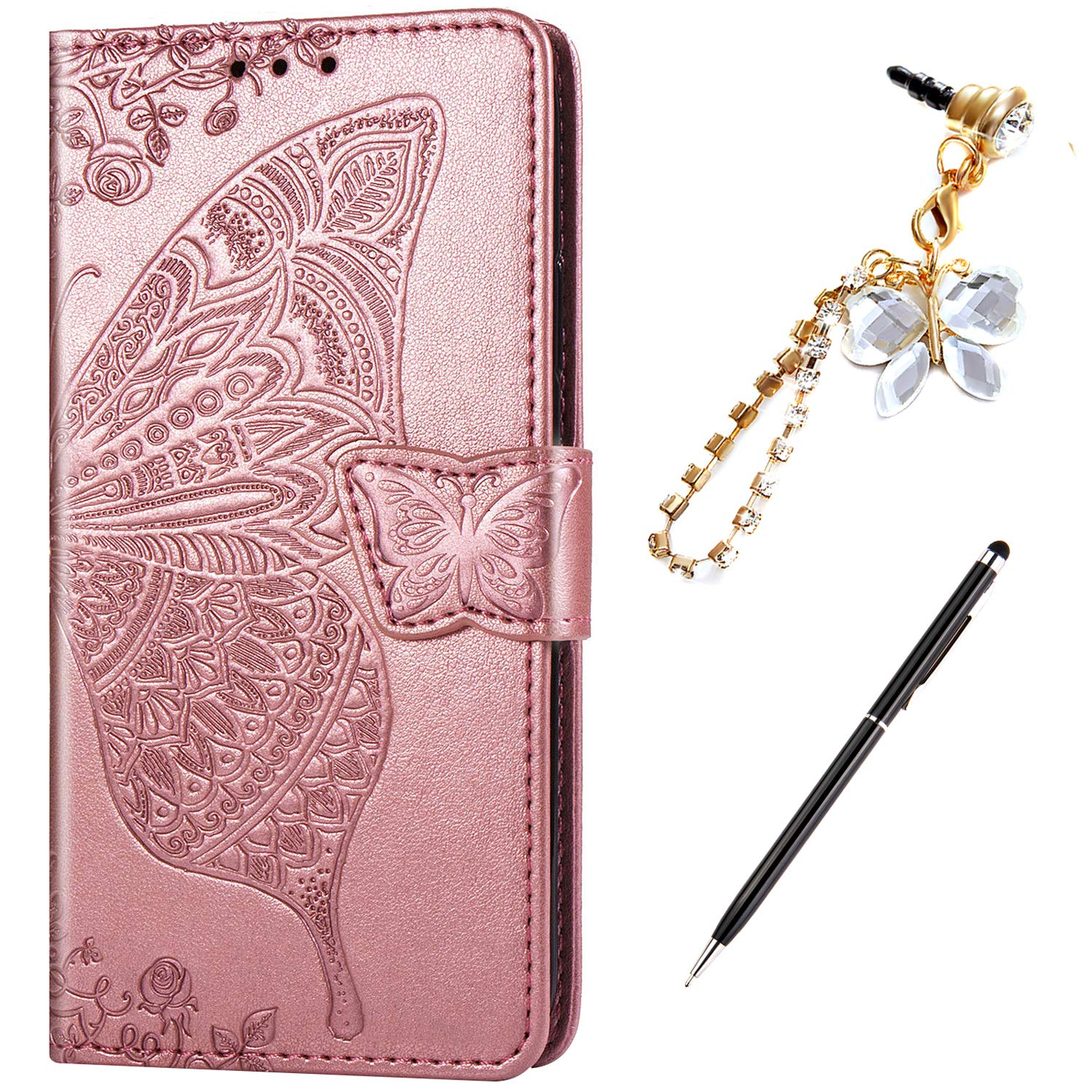 ikasus Case for Galaxy S9 Cover,Embossing Mandala Butterfly Rose Vine Flip Folio Wallet Case PU Leather Stand Card Slots Protective Case Cover + Dust Plug Stylus for Galaxy S9 Wallet Case,Rose Gold by ikasus