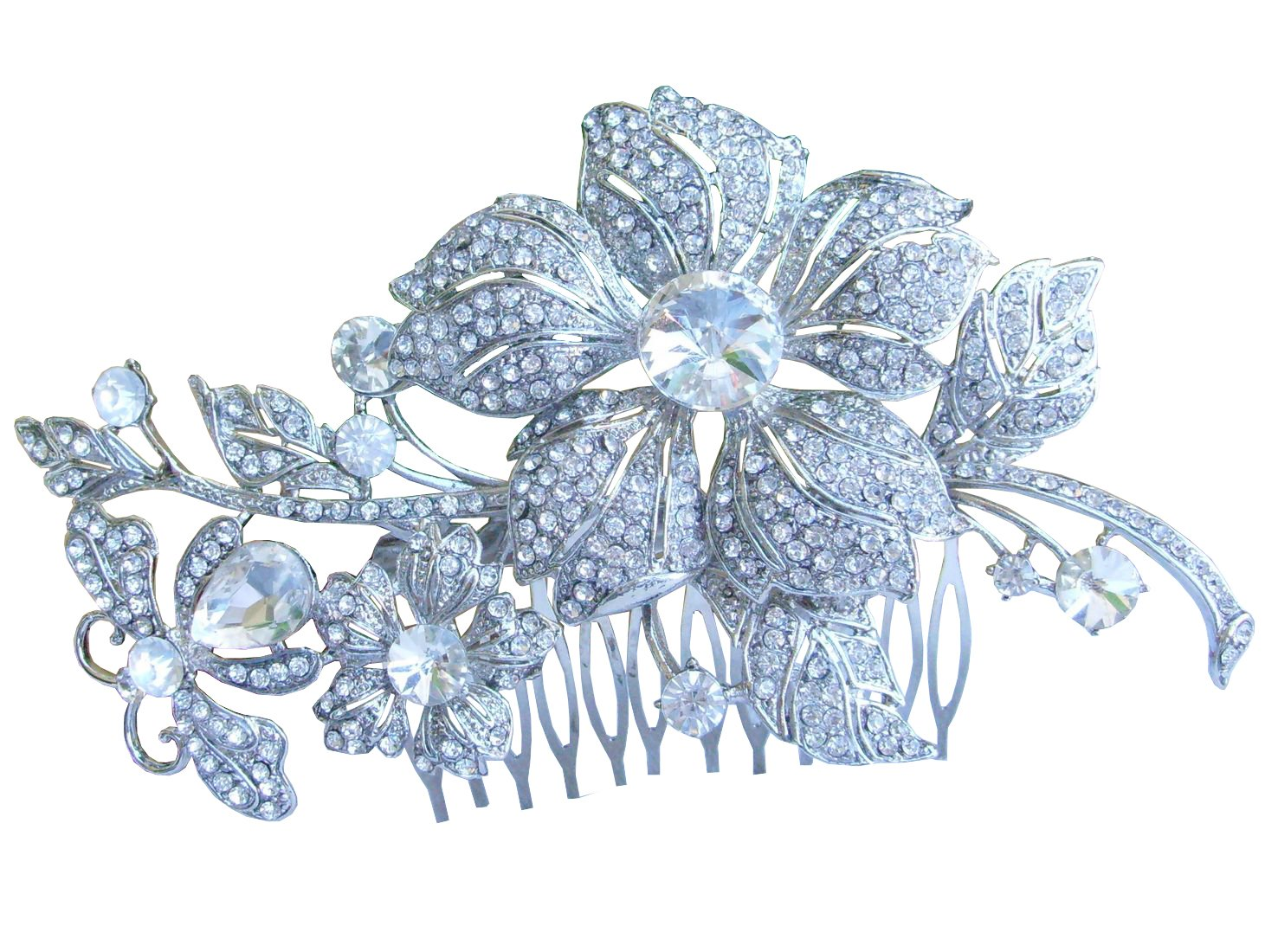 Sindary Wedding Hair Comb 5.12 Inch Silver-tone Clear Rhinestone Crystal Flower Hair Comb