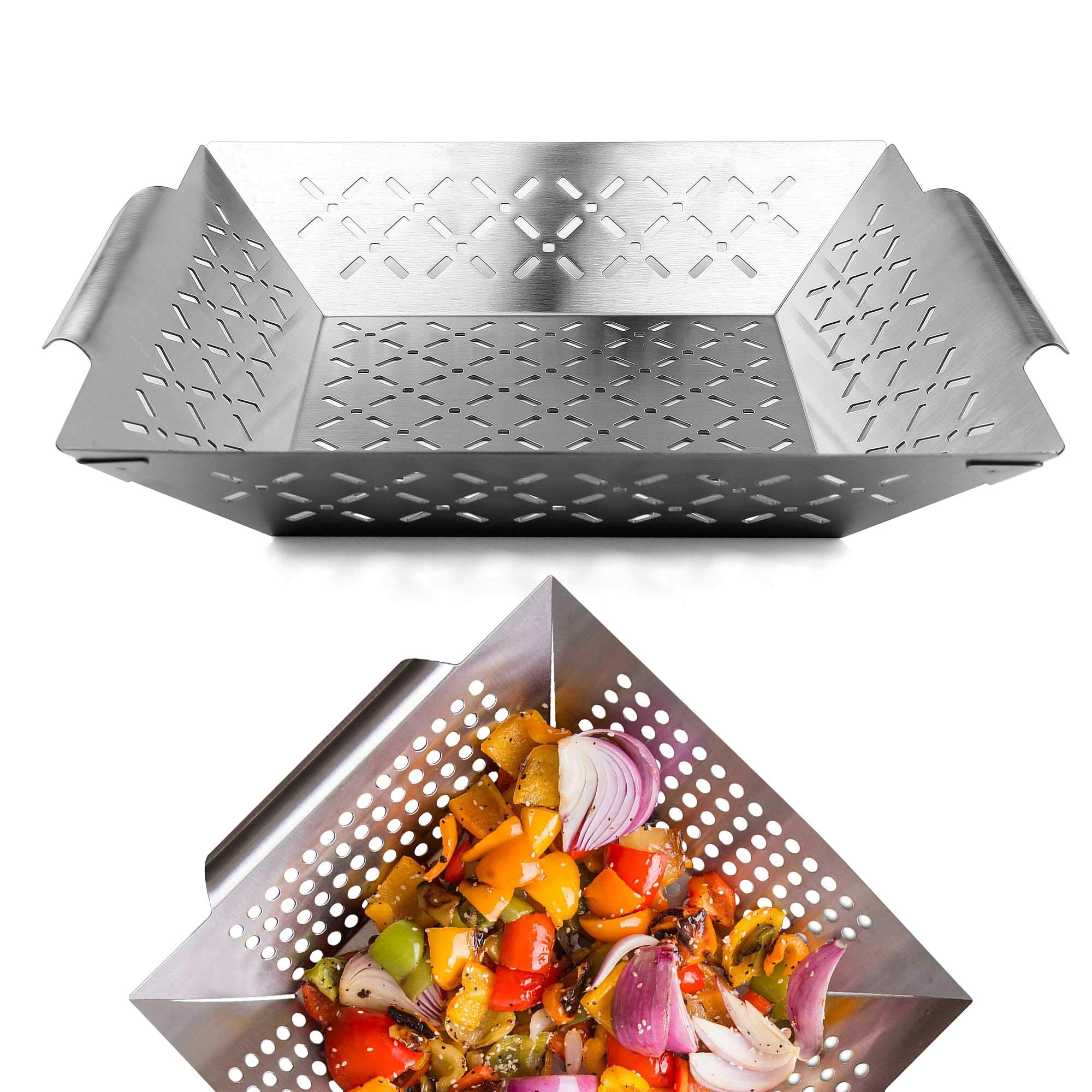 GRILLART Grill Basket - Large Grilling Basket for More Vegetables - Heavy Duty Stainless Steel Grilling Accessories Built to Last