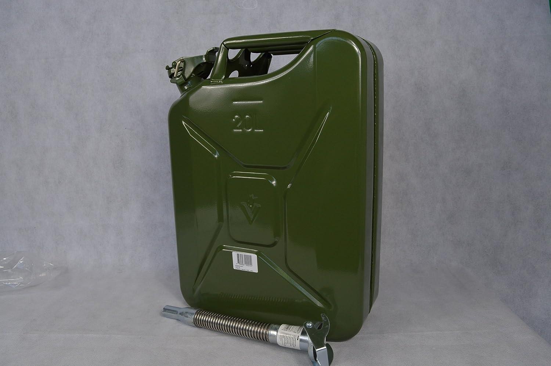 Set 4 X Benzinkanister Metall 20 Liter natogrün Dieselkanister plus Ausgiesser