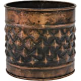 Stonebriar Decorative Diamond Textured Copper Metal Container, Multi-Use Container for Storage, Organization, or Flower Plant