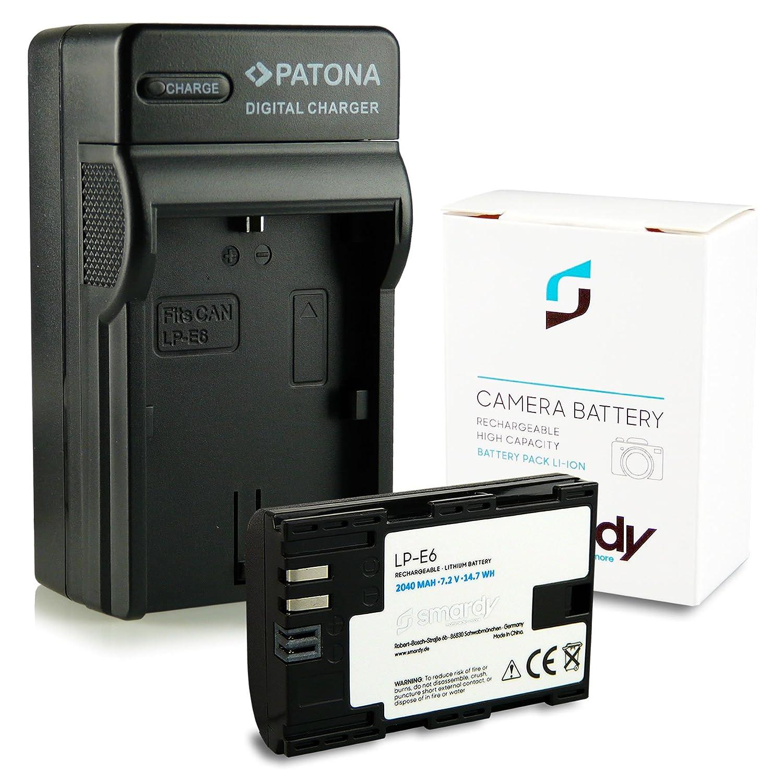 Cargador LP-E6 + smardy® Bateria Accu para Canon WFT-E5 E7 EOS 5D ...