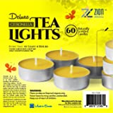 Zion Judaica Citronella Lemon Scented Quality Tealight Candles Set of 60 - Bright Yellow Insect Repellent