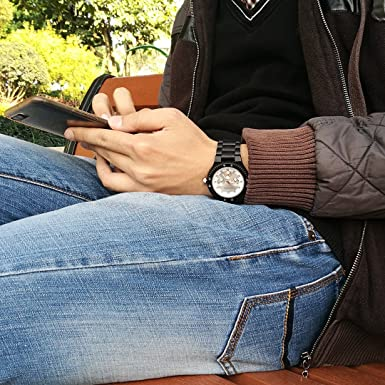 Relojes de Madera, BEDATE W144A Reloj de Cuarzo Japonés Lujo Hombre con Reloj 24 Horas Pulsera y Esfera Azul (Negro): Amazon.es: Relojes