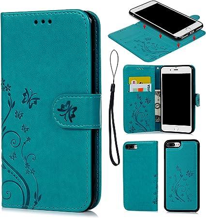 Coque iPhone 7 Plus / iPhone 8 Plus Etui Flip Cover Clapet 2 en 1 Coque Protecteur en Cuir PU avec TPU Silicone Housse avec Portable Dragonne Stand ...