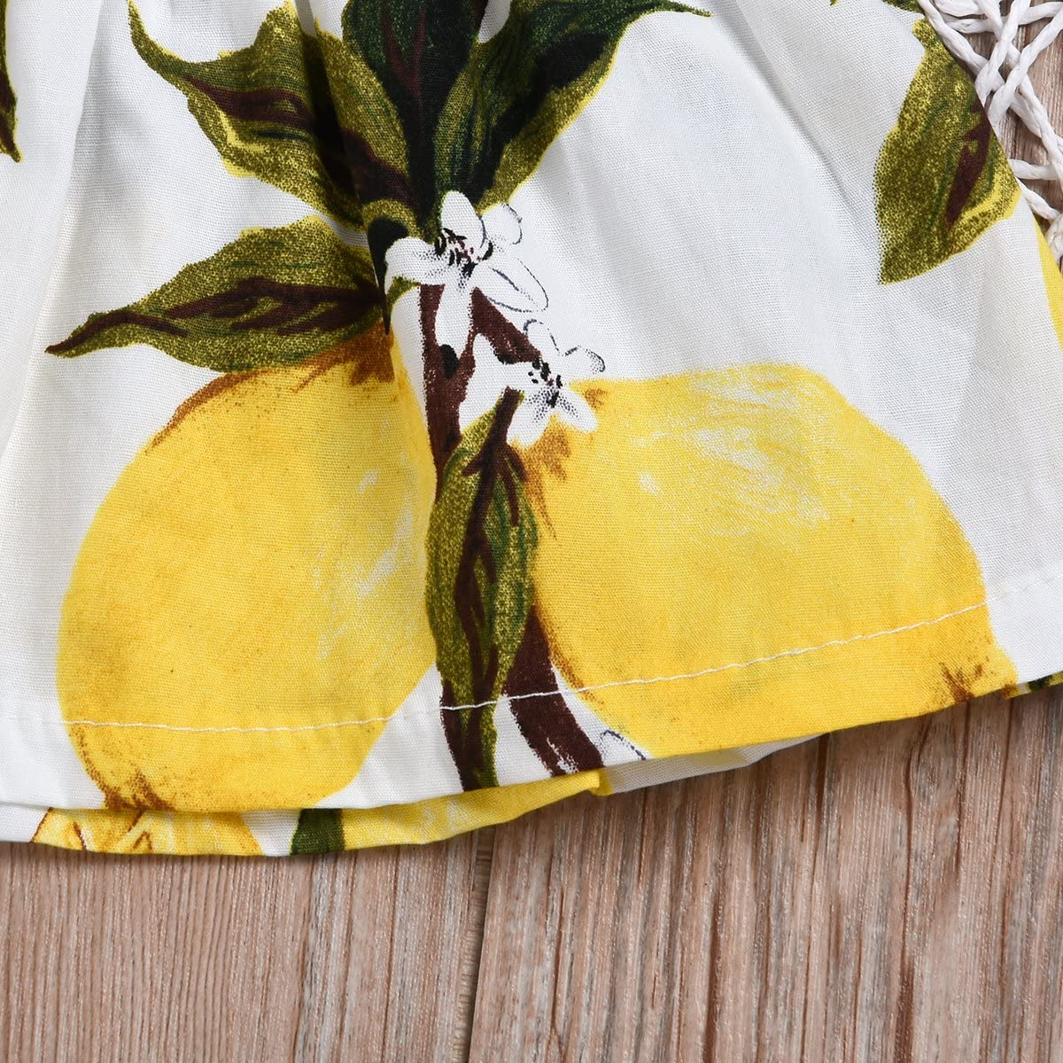 Kids Baby Girls Outfits Lemon Floral Print Off-Shoulder Tube Top Tassel Shorts with Headband Clothes Set