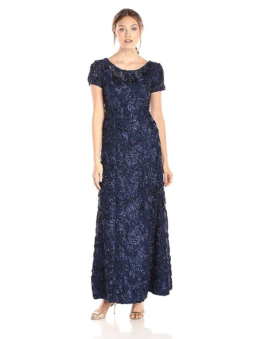 Amazon.com: Alex Evenings Women\'s Long A-Line Rosette Dress with ...