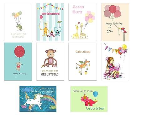 40er set geburtstagskarten glückwunschkarte kinder kindergeburtstag