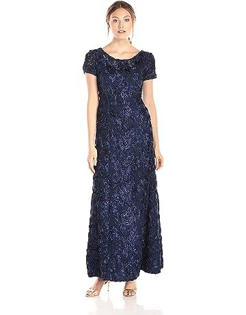 3c33b1e07 Alex Evenings Women's Long A-line Rosette Dress with Short Sleeves Sequin  Detail