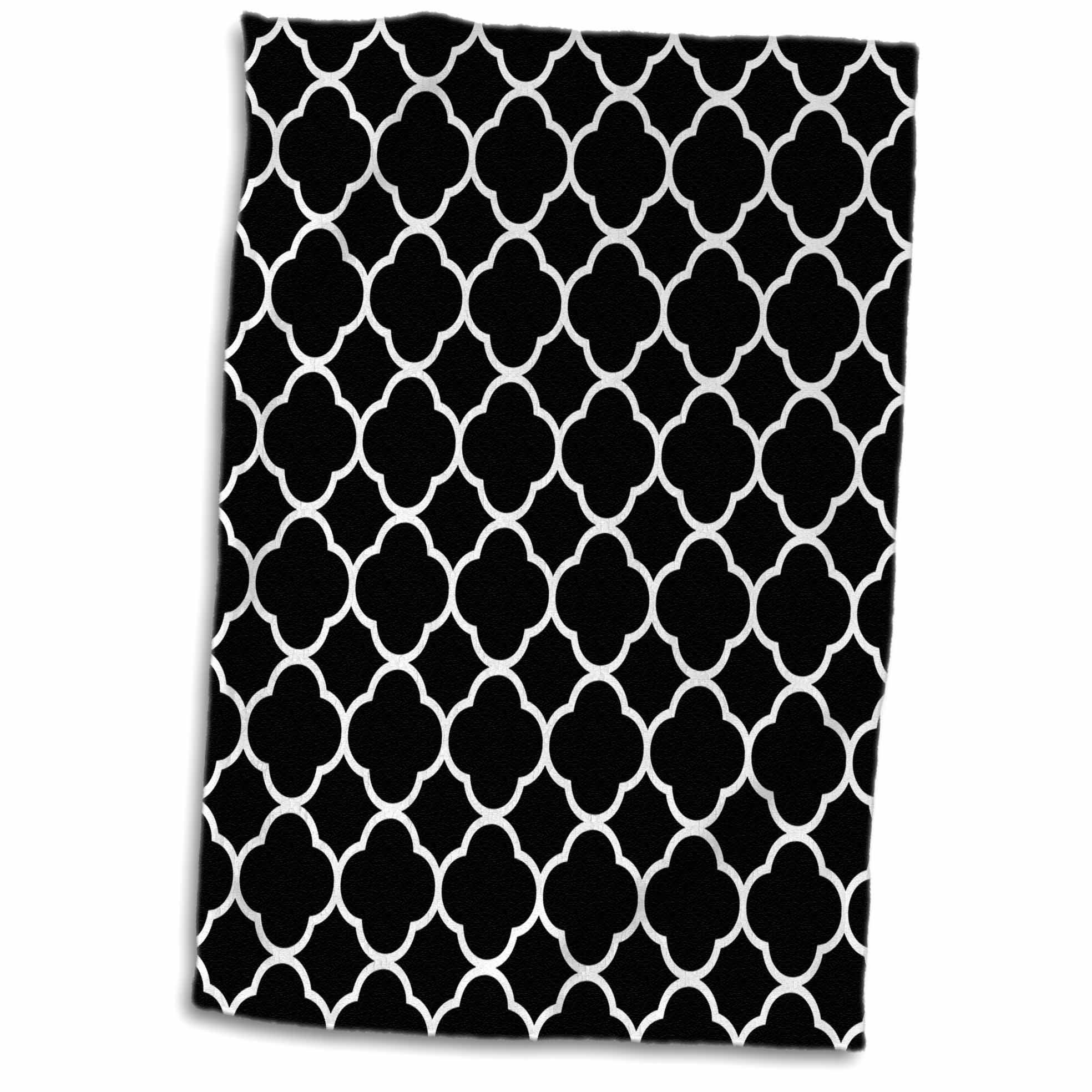 3D Rose Image of Black and White Quatrefoil Pattern Hand Towel, 15'' x 22'', Multicolor