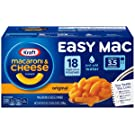 KRAFT Easy Mac Macaroni & Cheese, 18 Single Serving Pouches Ready in 3.5 Minutes Just Add Water No Artificial Preservatives, No Artificial Dyes & No Artificial Flavors