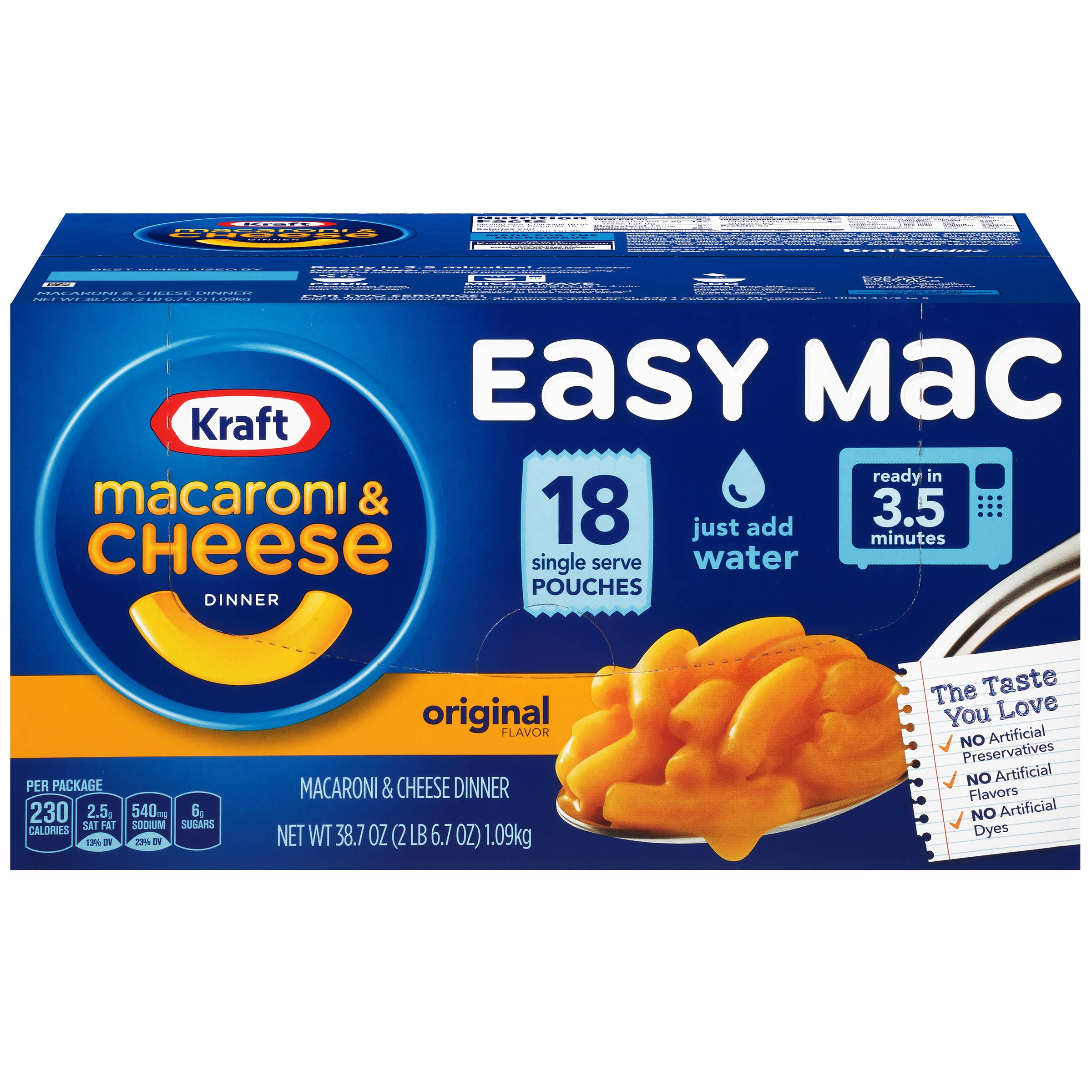 Kraft Easy Mac Macaroni and Cheese Dinner, 18 Microwaveable Single Serve Packets