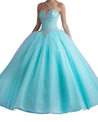 8cc3623674d Erosebridal Quinceanera Dress Tulle Sweetheart Beaded Long Prom Dress US 2  Blue