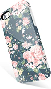 Akna Vintage Floral Pattern Case for iPhone SE 5S 5, Hard Silicon Cover Compatible iPhone 5s/SE/5 (342-U.S)