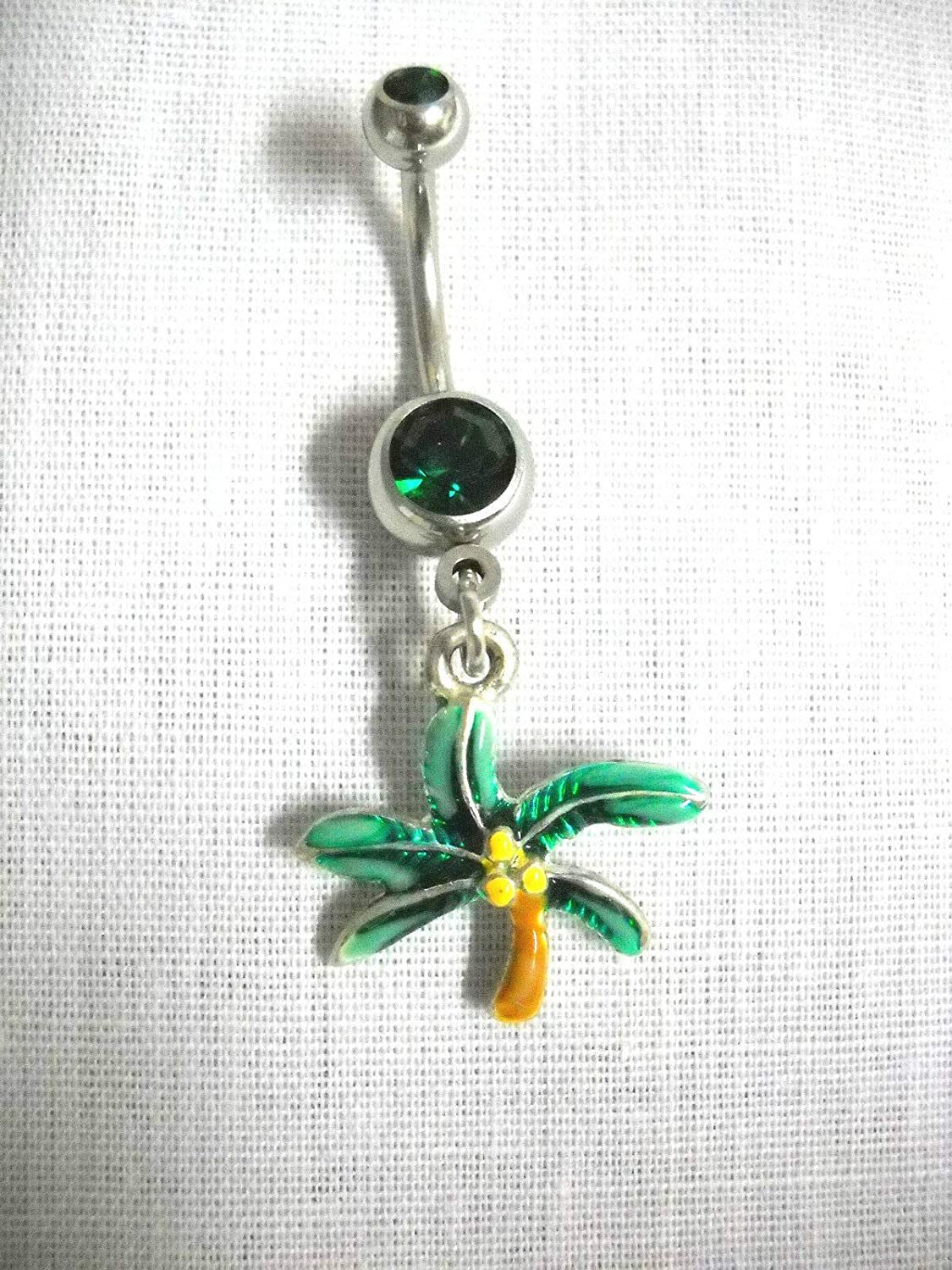New Tropical Islands Coconut Palm Tree Dazzling 14g Emerald Green Belly Ring KEZ-3517