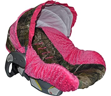 Custom Infant Car Seat Cover Sew Precious Baby Camo Hot Pink Minky