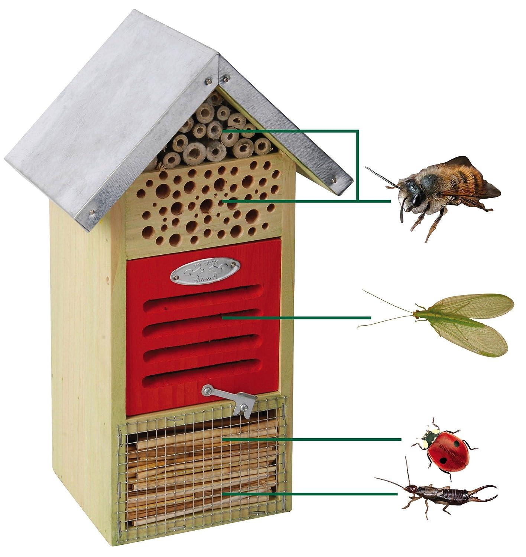Hôtel à insectes, insectes, pour différents Insectes, avec toit en métal, 19x 14,5x 32cm pour différents Insectes avec toit en métal 19x 14 5x 32cm Esschert Design