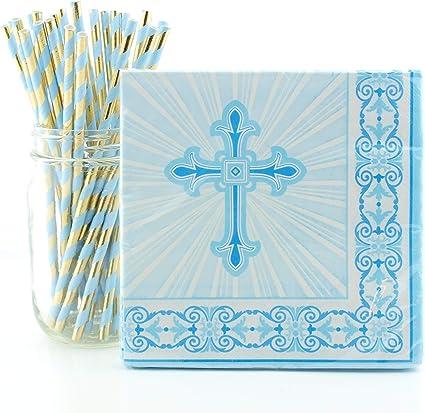CHRISTENING COMMUNION BAPTISM Tableware Holy Religious Plates Napkins